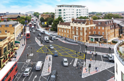 Image of the Kew Rd and Kew Bridge Rd junction.