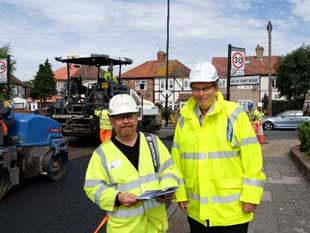Image of Cllr Guy Lambert on site with Hounslow Highways staff