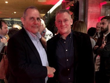 The leader with Andrew McCracken at the Adagio Aparthotel launch
