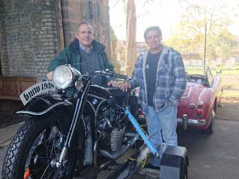 The leader of the council with motorcycle owner Robin Duer.
