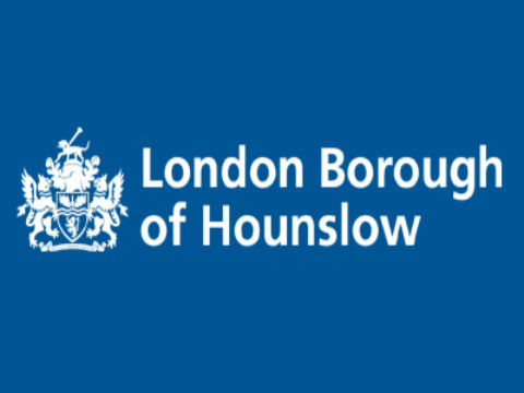 Hounslow logo on a blue background
