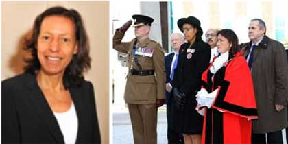 Image of Maria Pedro, Former Deputy Lieutenant at the Remembrance Service at Holy Trinity Church, Hounslow Town Centre, November 2017