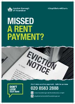 Image of a missed payment poster for the homelessness campaign