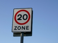 Image of a 20MPH zone street sign.