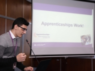 Image of a Hounslow apprentice speaking at the careers event.
