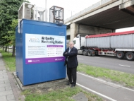 Image of Cllr Steve Curran at an Air Quality Monitoring Station.