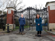 Cllr Samia Chaudhary stood infront of the gates at Dukes Meadow.