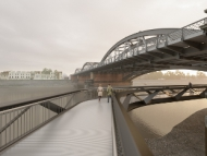 An artists's impression of the new footbridge at Dukes Meadows.
