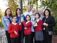 Image of the Mayor of Hounslow, Tony Louki with local school children, ward councillors and deputy leader, Cllr Lily Bath.