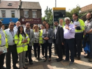 Councillors, enforcement officers and Hounslow Highways staff at the joint action day in Kingsley Road, Hounslow