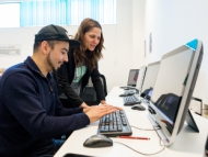 Image of a student using a computer in the Meadowbank Digital Training Centre.