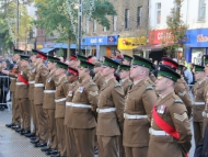 Image of Irish Guard in rank on Hounslow Highstreet for Remembrance Day 2016