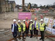 Image of Mayor of London, Sadiq Khan visiting the Lampton Road site in Hounslow