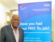 Image of Sir Trevor McDonald in the Feltham health centre.
