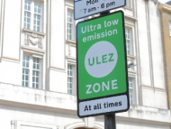 Image of a ULEZ road sign in central London.
