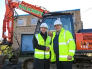 Cllr Steve Curran and John Mulryan at the development site before works begins