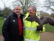 Image of Cllr Steve Curran, Falconer Martin Cattell and the Goshawk, 'Dave'