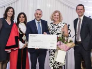 (from left to right) Jacqui McShannon, Director of Children's Safeguarding and Specialist Services, Mayor Samia Chaudhary, Mr and Mrs Morris, Hounslow Foster Carers, Cllr Tom Bruce, Cabinet Member for Education and Children's Services.