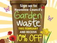 Image of the garden waste February sign up discount poster.