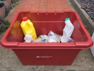 The new red recycling boxes