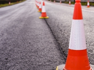 Cones in the middle of the road