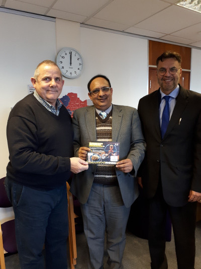 Image of Ehsan Shahid Choudhry and Maqsood Ahmed with Cllr Steve Curran.
