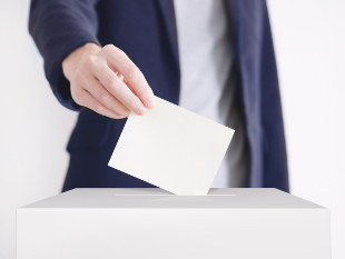 Image of person submitting a ballot paper.