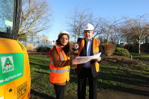 Image of Cllr Curran and Cllr Samia Chaudhary at Redlees park.