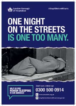 Image of a poster for rough sleepers in the borough for the homelessness campaign